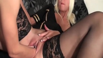 Platinum blond milf double fisted in her greedy pussy
