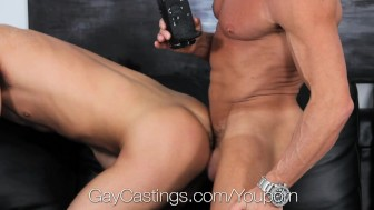 Hunter Pages fucked at first gay porn audition