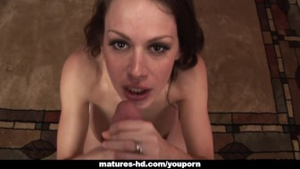 Bustybrunette mature sticks his dick in her wet vagina