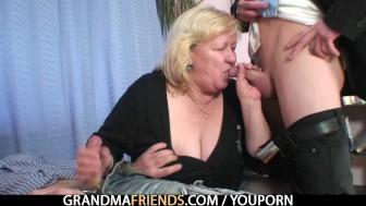 Grandma shallows two cocks then fucks