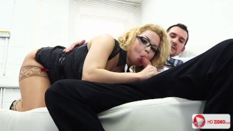Curly manager boss in stockings fuck in the office Aruba Jasmine