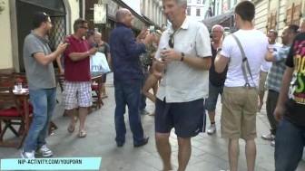 Crazy blonde chick susanne naked on public streets