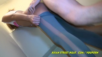 Hotel Service Girl On Asian Balcony