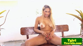 Busty latin tgirl Stephany Castro outdoor wank