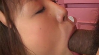 Nonoka busty licks balls and sucks cock till gets cum in kitchen
