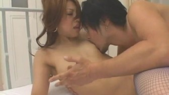 Nozomi Uehara in blue fishnets has peach licked and deeply nailed