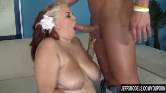Pretty plumper Buxom Bella takes a fat cock