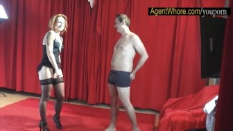 Young man gets BJ and handjob from redhead agent whorem