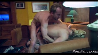 Blonde milf is fucked at a fancy house