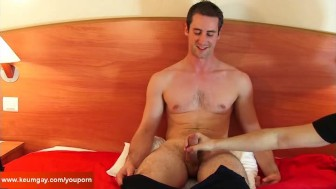 Guillaume, a real straight male gets wanked his big cock by a guy.