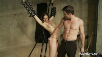 Lactating slave restrained and finger fucked to orgasm in the dungeon