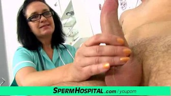 Oily handjob then cum on tits with busty lady doctor Danielle
