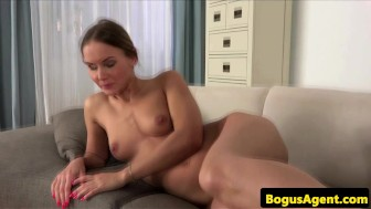 Auditioning chick fingers her cum dripping cunt