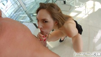 Asstraffic redhead is bent over and fucked in the ass