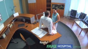 FakeHospital Patient overhears doctor fucking nurse then fucks him too