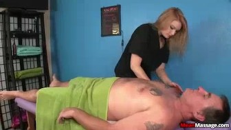 Blonde Masseuse Accidentally Touches Client's Cock