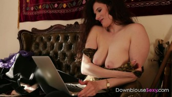 Tit Cam - trailer - hot busty brunette on cam with her horny boyfriend big tits brunette flasher
