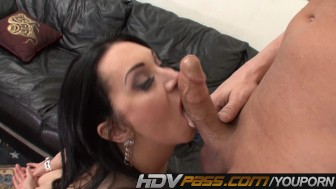 Hot Brunette MILF Rayvenes Sucking Stiff Cock