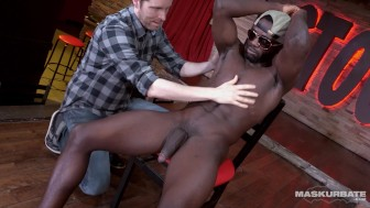 Maskurbate Big Black Cock Strippng in Stock Bar
