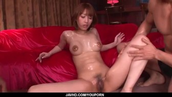 Tiara Ayase loves choking with cocks in threesome shows