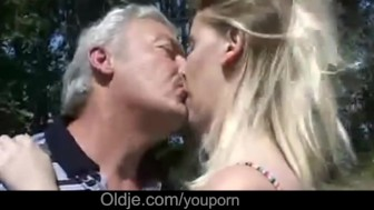 Lewd blonde asslicking oldman and swallow his cum