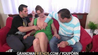 Hardcore threesome party with old granny