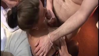 UK amateurs enjoy a gangbang party in a sex club