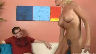 Mature Lady Wants To Know How High This Guy Spurts Cum