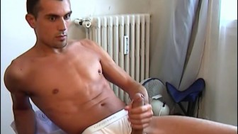 My str8 neighbour made a porn: watch his huge cock gets wanked by a guy!