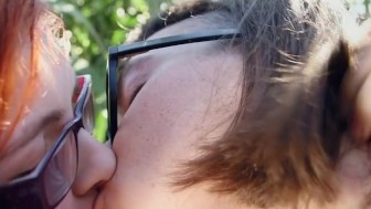 Hairy lesbian ass and cunt licked outdoors