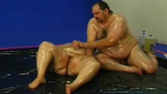 Oil bed fat fisting and fuck