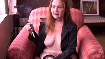 Super sexy old smoker in suspenders loves to talk dirty to you