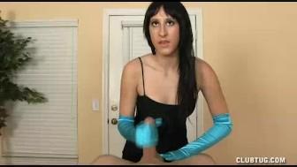Brunette's Specialty Handjob Offer In Her Satin Gloves