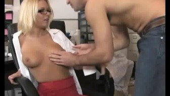 Office blonde giving a handjob