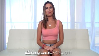 CastingCouch-X - Brunette Melissa Moore gets fingered in car then fucked