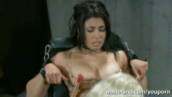 Pretty Lesbian sex sex brought to orgasm by Mistress with sex toys