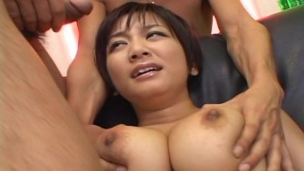 Busty brunette babe has a toy fuck with the boys