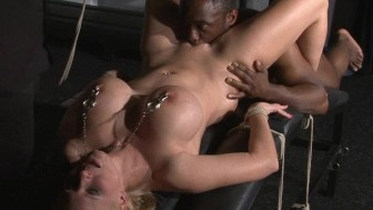 Interracial domination of German Melanie Moon and pussy licked blondes tit torture by rough black master