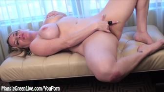 Natural Busty Maggie Green Masturbates & Cums!