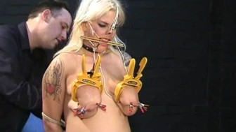 Busty amateur BDSM slave Cherrys nose hook bondage