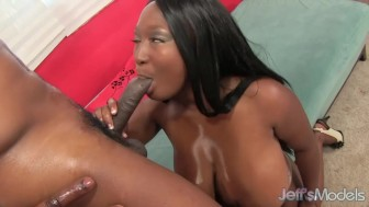 Full-figured black girl Marie Leone gets fucked