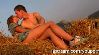 Lusty kissing by the fields