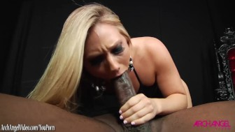 Blonde sucks monster black cock before being fucked
