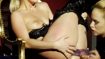 Glamcore lezdom toyed in her ass and pussy