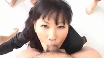 Japanese AV Model gets rivers of cum on face from cocks at school