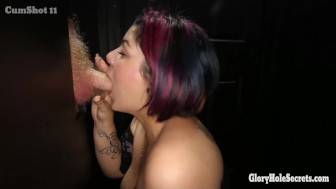 Chubby Latina swallows loads of cum