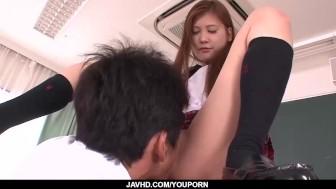 Subtitles - Asian teen Nozomi Nishiyama sucking and fucking