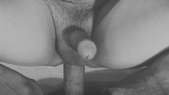 Huge wood dildo in my ass
