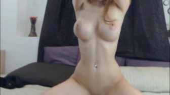 Perfect shaped body blonde dildo riding