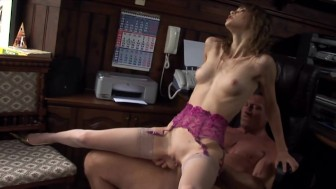 Petite Beata fucked in nude thigh high stockings